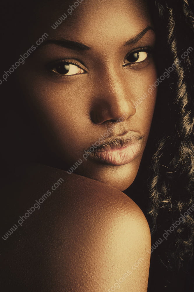A advertising photoshoot of a black model